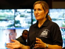 """Samantha Phillips is the city's """"master of disaster,"""" director of emergency management who is coordinating security and logistics for Pope Francis' visit. (YONG KIM / Staff Photographer)"""